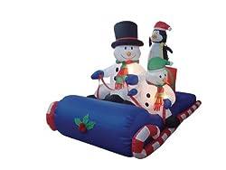 6 Foot Long Inflatable Christmas Snowmen & Penguin...