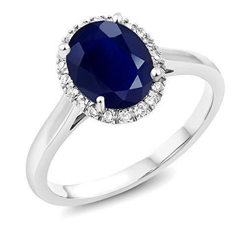 Gem Stone King 2.50 Ct Oval Blue Sapphire 10K White Gold Ring (Size 9) - Gold Oval Sapphire Ring