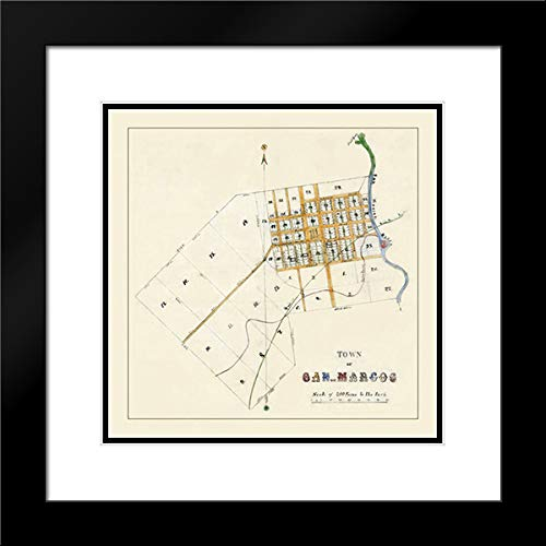 San Marcos Texas - Mason 1881 20x20 Black Modern Frame and Double Matted Art Print by Mason Vintage Map (Texas San Marcos)