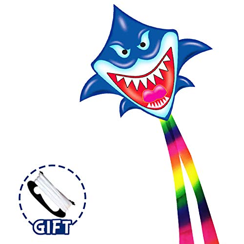 Flying Toy Kites - Shark Kite for Kids Adults Outdoor Beach Park Playing - Easy to Carry & Assemble & Fly -100 Meter String with Handle, Great Gift for 5 - 60 Year Old Boys and Girls (Best Light Wind Kite 2019)