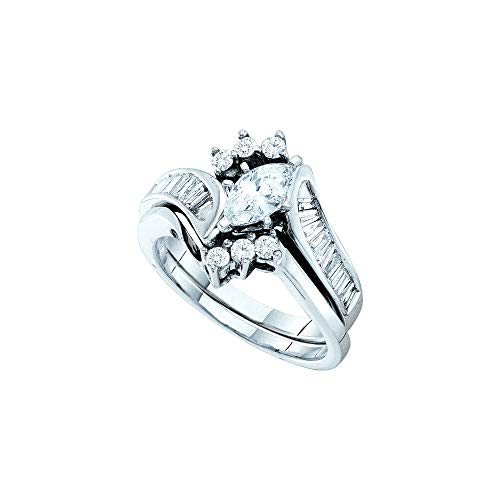 Jewels By Lux 14kt White Gold Womens Marquise Diamond Bridal Wedding Engagement Ring Band Set 1-1/4 Cttw In 6 Prong Setting (SI3 clarity; G-H - Setting Diamonds Clarity Si3
