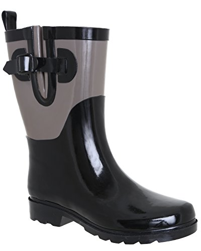 Capelli New York Ladies Two Tone Mid Calf Rubber Rain Boot Cool Black