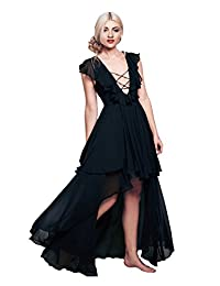 CA Mode Women's Lace Up Ruffles Evening Prom Party High Low Dress