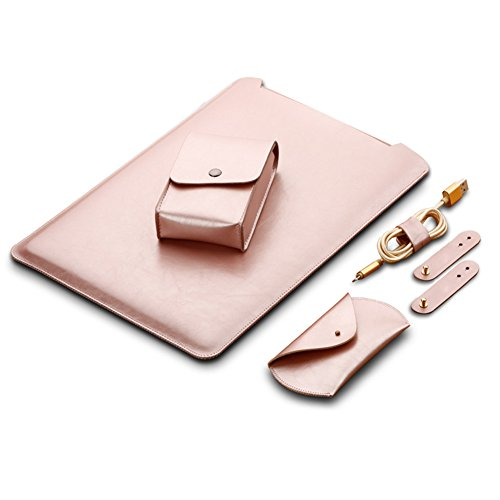 TOPCHANCES Simple Design Waterproof Protective Mircrofiber Sleek Leather Soft Sleeve Case Cover Bag for MacBook, Laptop Case Bag with Flip Exterior Mouse Pad (MacBook 12inch, Rose Gold)