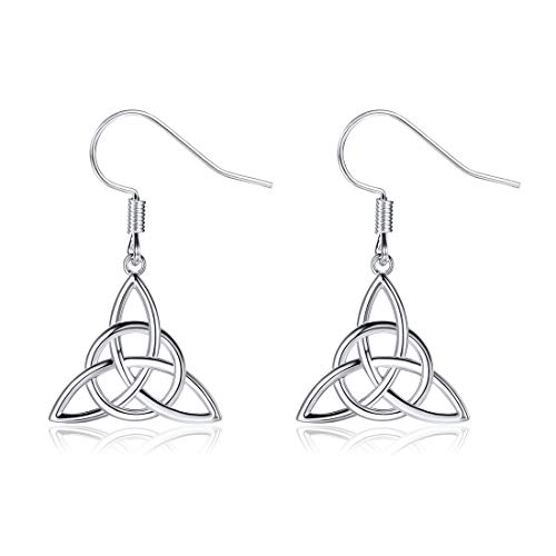 ChicSilver Celtic Jewelry 925 Sterling Silver Good Luck Irish Celtic Knot Triangle Vintage Dangle Earrings