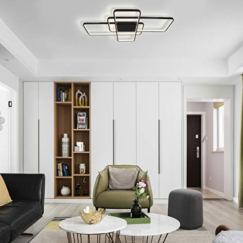 (CHYING Dimmable Ceiling Light, Black Modern LED Flush Mount Light Fixture 3-Layer Rectangle Chandelier PVC Metal Lighting with Remote Control for Living Room Bedroom Study)