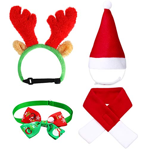 4 Pieces Cute Cat Dog Christmas Santa Hat Scarf Bow Tie Collar Christmas Reindeer Antlers with Ears Head Wear Xmas Costume Accessory for Kitten Puppy Small Pets (And Kittens Puppies Christmas)