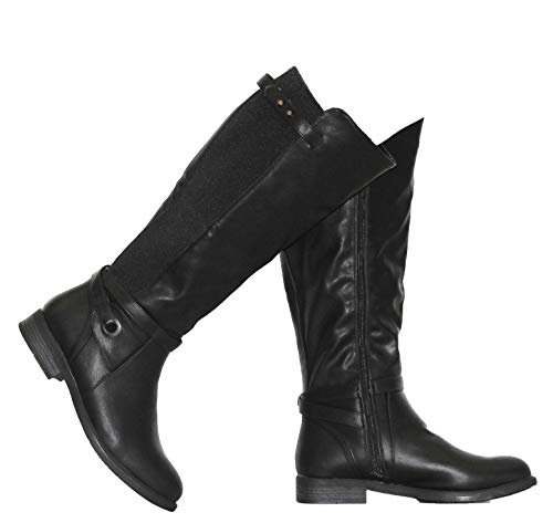 MVE Shoes Women's Knee High Boots - Strap Almond Toe Easy On-Off, PITA-47 W Black Size 9