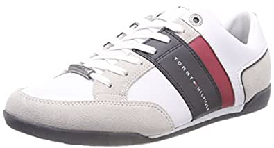TOMMY HILFIGER Men's Mixed Material Leather Lace-Up Sneaker Trainers, White, 40 EU