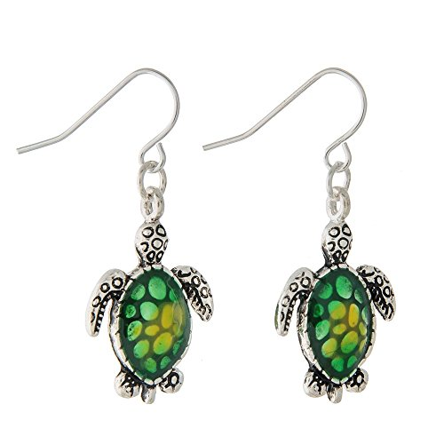 Liavy's Green Sea Turtle Fashionable Earrings - Epoxy - Fish Hook - Unique Gift and ()