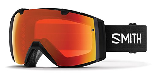 Smith Optics Adult I/O Asian Fit Snowmobile Goggles Black / ChromaPop Everyday Red Mirror by Smith Optics