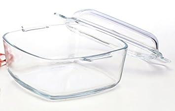 Auflaufform Glas eckig mit Deckel 2,8 Liter