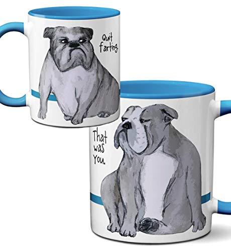 Farting English Bulldog Mug by Pithitude - One Single 11oz. Blue Coffee Cup ()