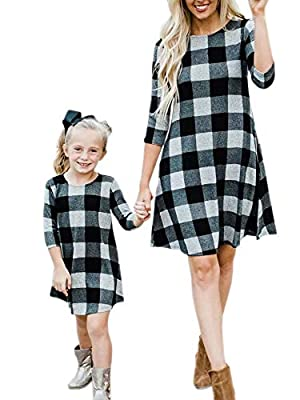 Mommy and Me Dress Casual Plaid 3/4 Sleeve Mother Daughter Family Matching Dresses Outfit with Pockets