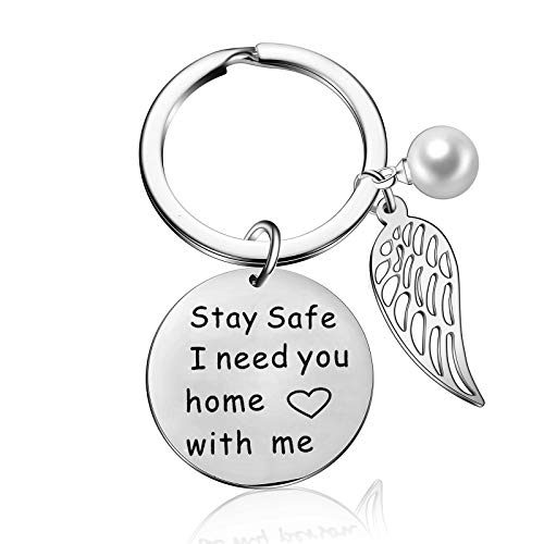 Stay Safe I Need You Home with Me Wing Pendant Keychain Husband Boyfriend Gift for Police Officer Firefighter Jewelry Military Law Family Enforcement Keyring (Style-1) ()