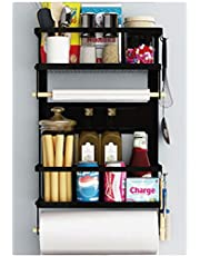 Magnetic Fridge Spice Rack Organizer with 5 Removable Hooks 4 Tier Mounted Storage Paper Towel Roll Holder Multi Use Kitchen Rack Shelves Pantry Wall Laundry Room Garage (BLACK)
