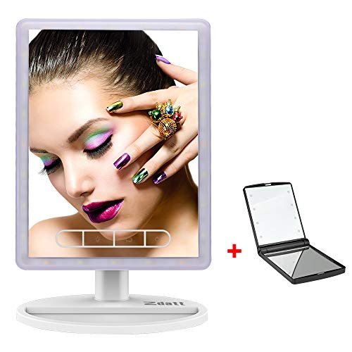 ZDATT LED Vanity Mirror Make up High Definition Clarity Cosmetic Mirror with 24Pcs Lights 720 Degree Free Rotation Table Countertop Cosmetic Bathroom, White by ZDATT