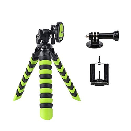 BONFOTO Flexible Tripod 11.5 Inch Adjustable Mini Tripod with Quick Release Plate and Mount Adapter for most cellphone Cameras (Green)