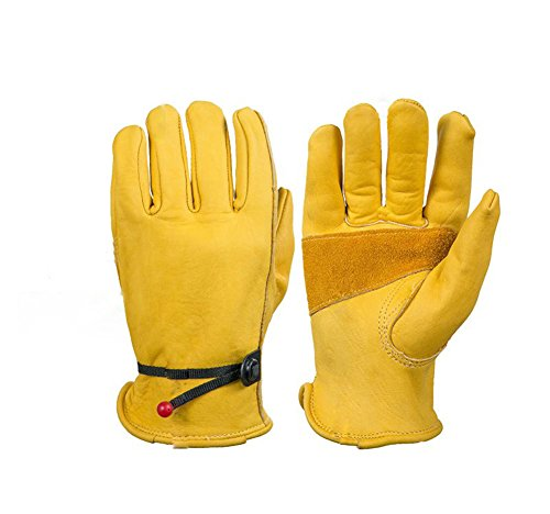 Animal Handling Gloves Cowhide Safety Cuff For Cat Dog Bird Snake Parrot Lizard Squirrel Hamster Anti-Bite/Scratch Gardening Wild Animals Protection Gauntlet,Yellow