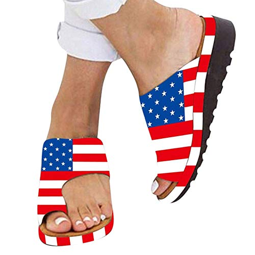 Womens Comfy Platform Sandal Shoes American Flag Printed Clip Toe Cross Sandal Summer Casual Comfortable Beach Travel for Independence Day