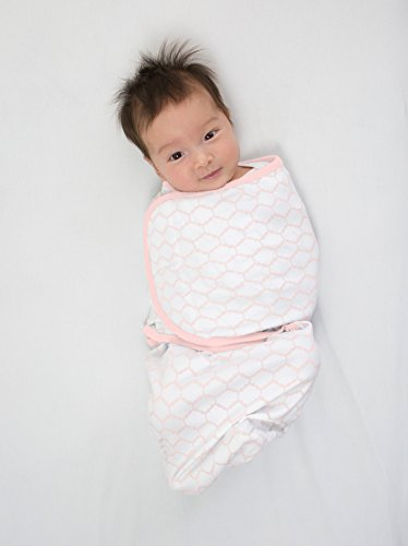 Large Product Image of Amazing Baby Swaddle Blanket with Adjustable Wrap, Set of 2, Tiny Bows and Lattice, Pink, Small