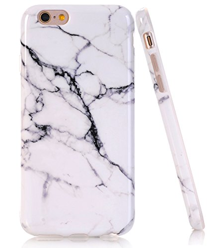 iPhone SE Case, iPhone 5 5S SE White Marble Design, BAISRKE Slim Flexible Soft Silicone Bumper Shockproof Gel TPU Rubber Glossy Skin Cover Case for Apple iPhone 5 5S SE
