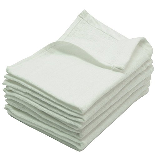 "Fingertip Towels Premium 100% Cotton Terry-Velour Wash cloth Set of 4, 11"" x 18"" ( White)"