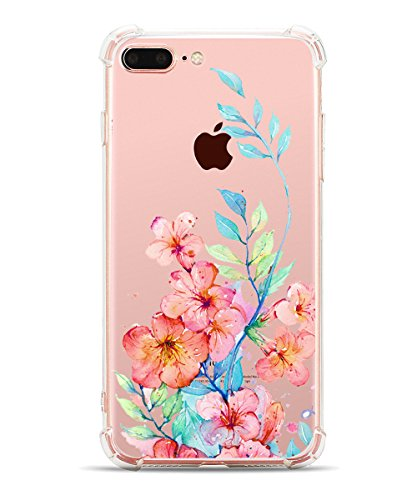 iPhone 7 Plus Case Flowers iPhone 8 Plus Case for Girls Hepix Floral Flower Blossom Printed Clear Shock Absorption Technology TPU Back Case with Bumper Protective for iPhone 7 Plus iPhone 8 Plus