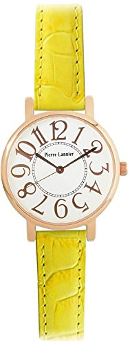PIERRE LANNIER watch Bonheur Big Face Watch Croco Press yellow P471A900 C81 Ladies