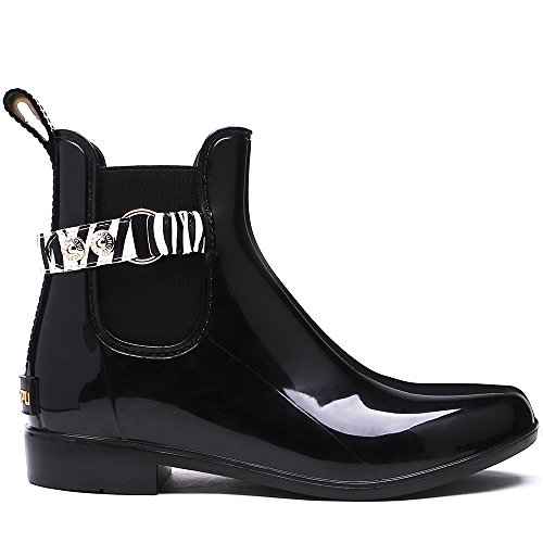 Chelsea Negro Botas On lluvia Slip Negro Moda Mujer TONGPU Ankle de 4XvRcw
