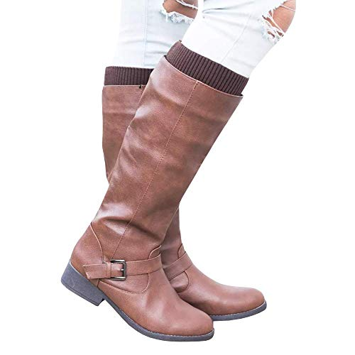 4791ca2f20e6 Syktkmx Womens Winter Leg Warmer Knee High Boots Moto Riding Flat Chunky Low  Heel Closed Toe