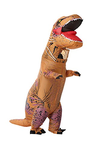 Adult Trex Costumes (Caringgarden Unisex Jurassic T-Rex Inflatable Costume Dinosaur Fancy Dress Brown Adult Size)