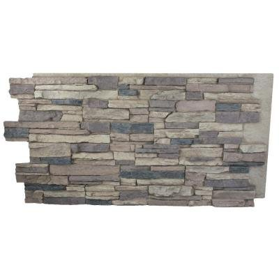 Rustic Lodge 24 in. x 48 in. x 1-1/4 in. Faux Grand Heritage Stack Stone Panel - Faux Stone Siding