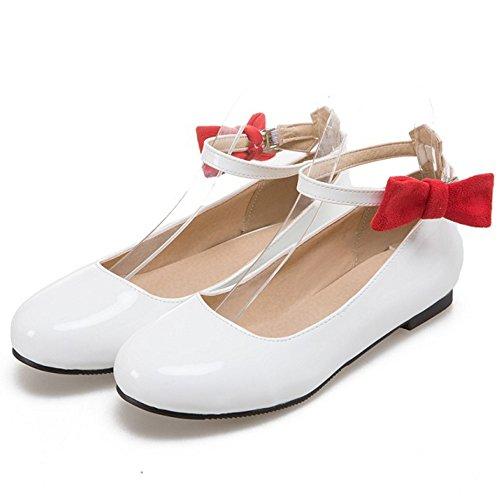 Donna Ballerine Scarpe Bianco Moda COOLCEPT Da Cinturino Bowknot fS6Wq71H