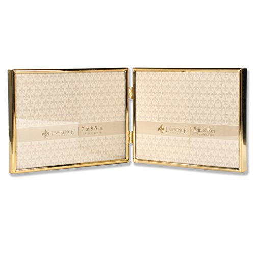 Lawrence Frames 7x5 Hinged Double Simply Gold Metal Picture - Gold Frame Double