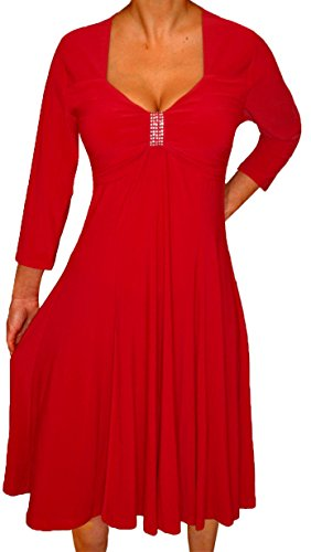 Funfash Plus Size Women Long Sleeves A Line Red Dress New Made In USA (Party Plus Blouses For Women Size)