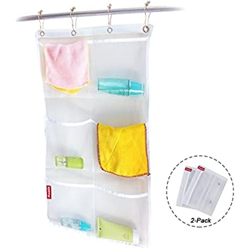 Honla 2 Pack Hanging Mesh Bath Shower Caddy Organizer With 6 Clear Storage  Pocketsu0026Large Grommets
