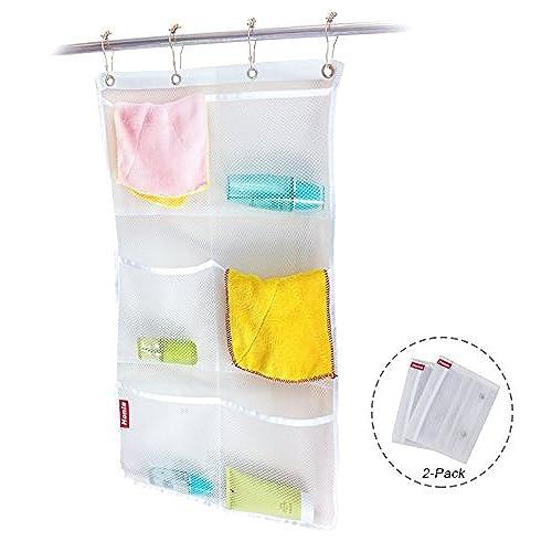 Beau Honla 2 Pack Hanging Mesh Bath Shower Caddy Organizer With 6 Clear Storage  Pocketsu0026Large Grommets Set Hang On Shower Curtain Rod/Liner Hooks For  Bathroom ...