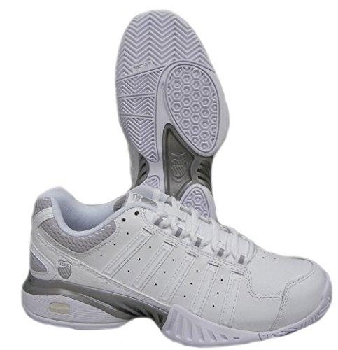 K-Swiss Receiver III Women's Tennis Shoe White/Silver (7)