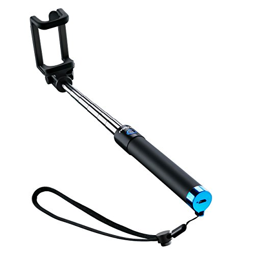 Mpow Selfie Stick Bluetooth, iSnap X Extendable Monopod Built-in Bluetooth Remote Shutter Compatible with iPhone XS/XS max/XR/X/8/8P/7/7P/6s/6/5,Galaxy S9/8/7/6/Note,Nubia,Huawei and More(Light Blue)