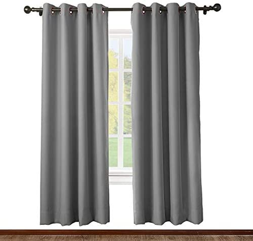 ChadMade Solid Thermal Insulated Blackout Curtain Drape Antique Bronze Grommet/Eyelet Grey 52W x 102L Inch Set of 2 Panel