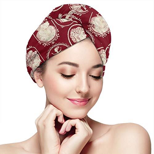 Cameo Towel - Cameos Red Microfiber Hair Towel Turban Wrap Quick Magic Dryer, Dry Hair Hat for Women Girls Mom Daughter Pack of 2