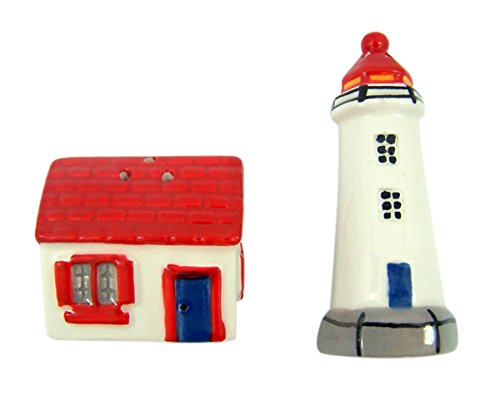 Beach Lighthouse and HOUSE Ceramic Salt And Pepper Shaker Set, 3 Inch