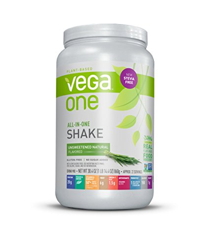 Vega One All-In-One Nutritional Shake Natural Unsweetened (22 Servings) - Stevia Free Plant Based Vegan Protein Powder, Non Dairy, Gluten Free, Non GMO