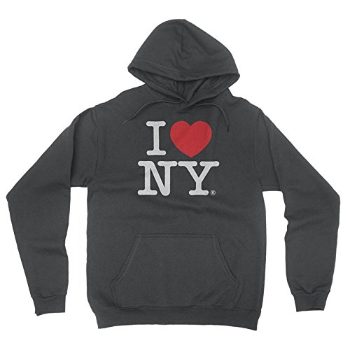 Sweatshirt Hooded Print Screen (I Love NY New York Hoodie Screen Print Heart Sweatshirt Charcoal Large)