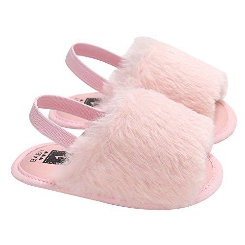 yuye-xthriv Fashion Infant Baby Shoes Flat Sole Breathable Plush Sandals  Toddler Prewalker Pink 3-5M 194e28604