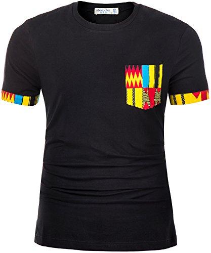 Shenbolen Men's African Print Shirt Short Sleeve Casual Dashiki Style T-Shirt Blouse Tops (Small, ()