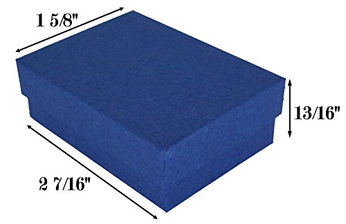 888 Display USA Made in USA Matte Navy Blue Kraft Jewelry Gift Box with Removable Cotton Pad 2 7/16
