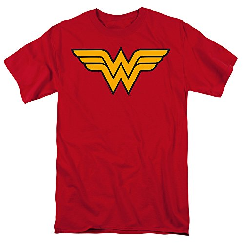 Trevco Men's Wonder Woman Short Sleeve T-Shirt, Red, -