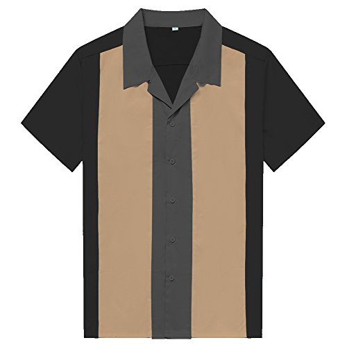 Anchor MSJ Men's 50s Male Clothing Rockabilly Style Casual Cotton Blouse Mens Fifties Bowling Dress Shirts (XXXL, Black)